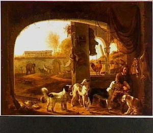 Een jager snijdt brood in het bijzijn van zijn honden