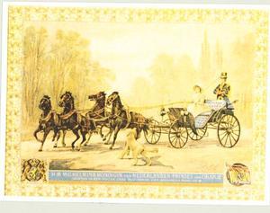 Koningin Wilhelmina in een duc bespannen met vier paarden