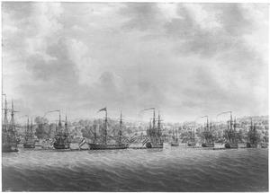 's Lands eskader, onder commando van kapitein J.P. van Braam, tijdens de expeditie naar Oost-Indië, voor anker liggend voor de kust van Malakka, 1784