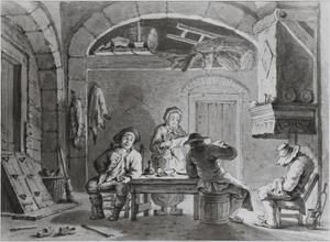 Interieur met vier figuren rond een rafel