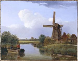 Vissers in een bootje bij een molen