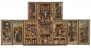 Hemelvaart, pinksteren (binnenzijde linkerluiken); De kruisdraging, de kruisiging, de bewening, de opstanding, de annunciatie, de geboorte, de besnijdenis, de aanbidding der Wijzen (middendeel); Christus voor Pilatus, de gevangenneming van Christus (binnenzijde rechterluiken); Christus in het voorgeborchte (binnenzijde linker bovenluik); Ecce Homo (binnenzijde rechter bovenluik)