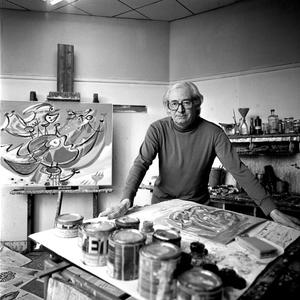 Portret van Anton Rooskens in zijn atelier