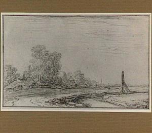 Landschap met boerderijen en bomen; op de voorgrond een sluis