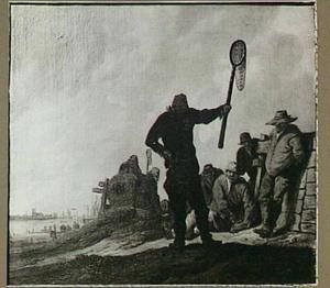 Rustende vissers aan de waterkant; links op de achtergrond de Grote Kerk te Dordrecht