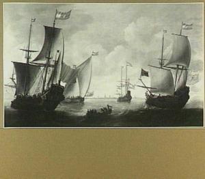 Amsterdamse driemasters en andere vaartuigen op het IJ voor Amsterdam