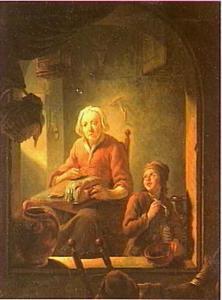 Kantklossende vrouw en bellenblazende jongen