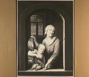 Vrouw en kind met gevogelte in een nis