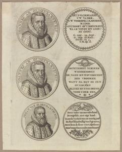 Drie penningen met portret van Johan van Oldenbarnevelt (1547-1619)