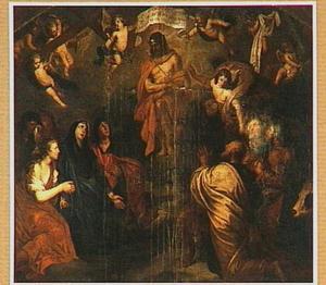 De Man van Smarten aanbeden door de Maagd, heiligen en engelen
