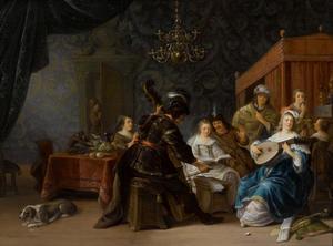 Interieur met elegant musicerend gezelschap; allegorie van de vijf zintuigen