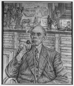 Portret van Dr. H.P. Bremmer in zijn werkkamer