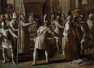 Jojada beveelt, in het bijzijn van koning Joas, Atalja naar buiten te brengen en te executeren (2 Koningen 11:14-16; 2 Kronieken  23:15)