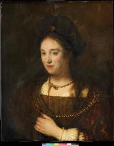 Halffiguur van een vrouw met baret