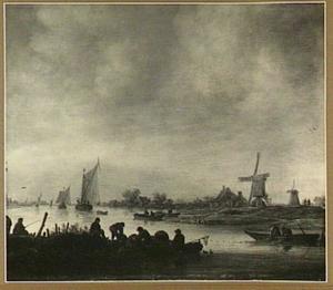 Riviergezicht met vissersbootjes