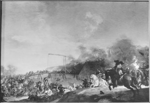 Ruitergevecht bij een fort