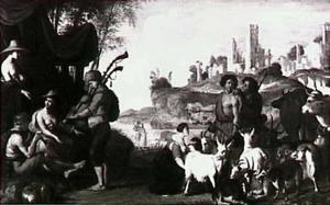 Boeren en herders in een arcadisch landschap