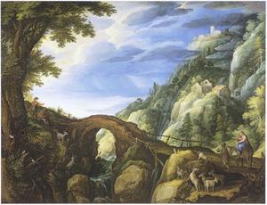 Berglandschap met de vlucht naar Egypte (Mattheus 2:13-15)