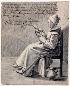 Haspelende vrouw (allegorie op de val van Arnhem in het Rampjaar 1672)