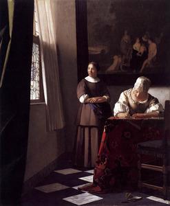 Schrijvende vrouw met een dienstmeid