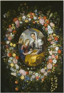 Anna leert Maria lezen omringd door een bloemenkrans