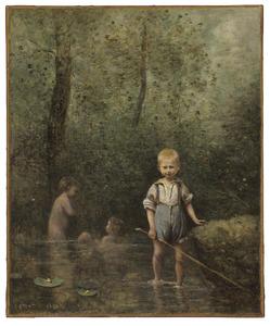 Kinderen in een rivier  spelend