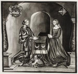 Dubbelportret  van Jacob van Woude (?-1431) en Reyntgen van Brakel (?-1449)