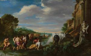 Arcadisch landschap met dansende koeherders naast een ruïne met beeldhouwwerk