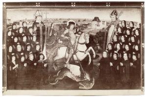 De leden van het Gilde van de Grote Kruisboog te Mechelen met St. Joris en twee heiligen