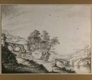 Heuvellandschap met rivier en brug