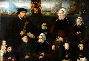 Portret van Jan Jelisz. Valckenier (1522-1592), Marij Jansdr. Tengnagel (...-1562) en hun kinderen