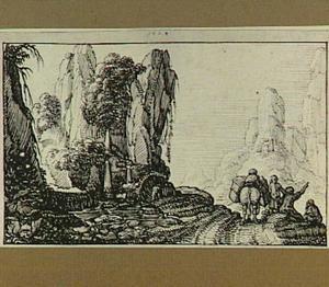Berglandschap met vier figuren en lastdier