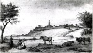 Gezicht op de Monterberg vanaf Kalkar