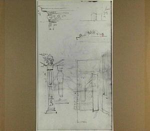 Studie van verschillende architectuuronderdelen en van een gang met openstaande