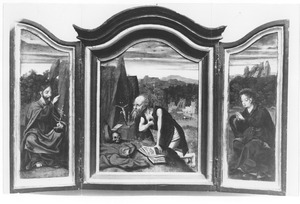 Christus (links); Boetende H. Hiëronymus (midden); Maria (rechts)