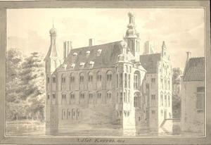 Slot Keppel te Keppel anno 1730 van terzijde