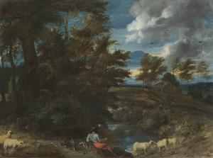Heuvelachtig landschap met een vissende man met schapen bij een beek