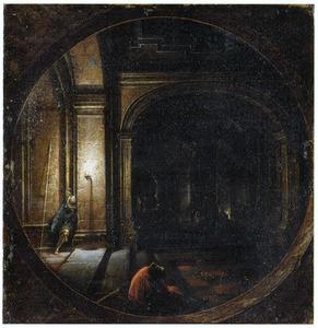 Doorkijk in een interieur met de bevrijding van de H. Petrus