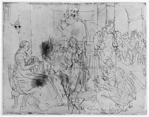 Lucretia en haar dienaressen tijdens het spinnen (Ovidius, Fasti, 2, 721-852), en staande man in mantel
