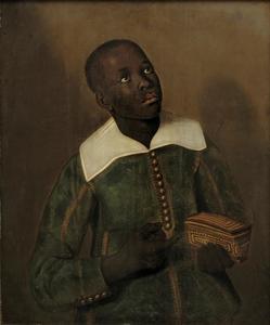 Portret van een Congolees in Europese dracht, met een gevlochten mand met 'missangas' (kralen) in de hand, waarschijnlijk een bediende van Dom Miguel de Castro