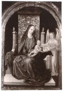 Tronende Maria met kind en luitspelende engel