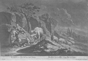 Landelijke scène met herder te paard en zijn kudde grazend bij een rivier
