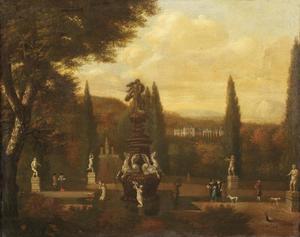 Parklandschap met elegante figuren bij een fontein