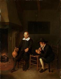 Interieur met een rokende en een drinkende man bij het haardvuur