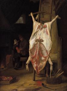 Een opgespalkt varken in een boereninterieur