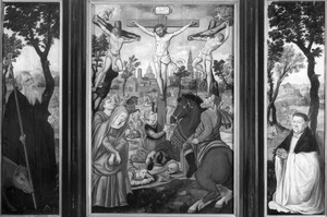 De H. Antonius Abt (links), de kruisiging (midden), stichter (rechts)