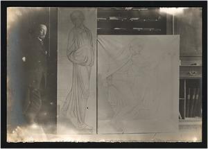 A.J. Derkinderen met twee kartons: voorstudies voor een wandschildering in het levensverzekeringsgebouw, het gebouw van de Algemeene Maatschappij van levensverzekering en lijfrente op het Damrak, Amsterdam, 1896-1900