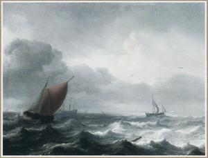 Een wijdschip en andere schepen op ruwe zee