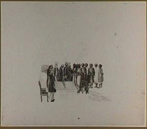 Ontvangst van de gezanten van de koning van Kandy in de grote ontvangstzaal van het Gouverneurshuis te Colombo