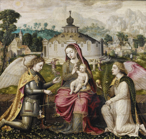 Maria met kind, met de aartsengelen Michael en Gabriel